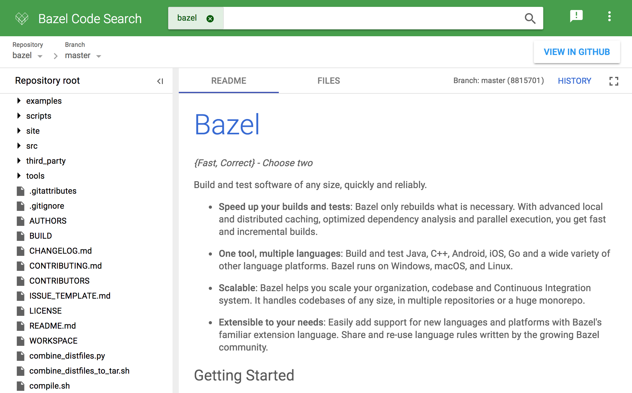 Repository view on Bazel Code Search